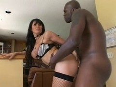 Brunette masturbate before an interracial sex session