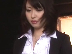 Hottest Japanese chick Mona Asamiya in Exotic DP/Futa-ana, Stockings/Pansuto JAV scene