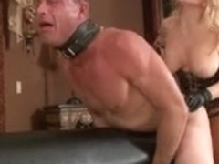 Blonde fucks him hard with her strapon