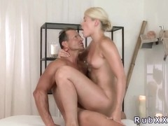 Sexy blonde fucked and creampied by masseur