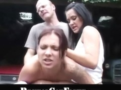 Hussy pussy causes a catfight and gets spanked and fucked