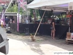 Festival girls exposes tits and gets hardcore fucking in public