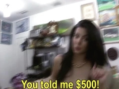 Curvy and brunette cuban chick gets pawned by Shawn the shop owner