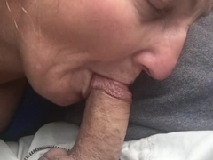 Granny bj & swallow in car
