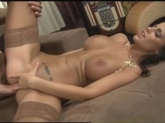 Black Angelina Catches Choky Ice With Her Long Nylon Covered Legs.