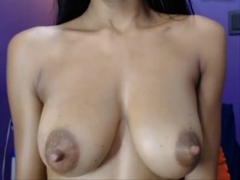 Perfect brown colombian body with big tis dark nipples