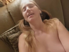 Sex with my wife Connie in pigtails on couch