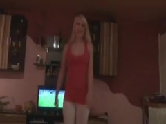 German dilettante golden-haired engulfing during the time that watching soccer pov
