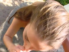 Petite and pretty girl Anita B. gets fucked in the public park today