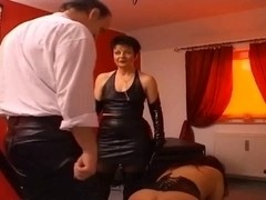 Big ass wife gets caned, toyed and facialized
