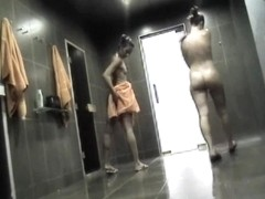 Tender body chicks showering and creaming on spycam