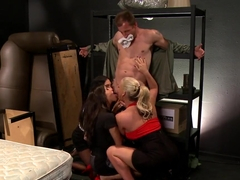 Mark Ashley has three babes rape his ass