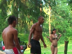 Olympia & Roxi & Veronica in outdoors sex party with lots of slutty bitches