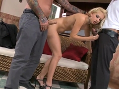 Jessie Volt has threesome sex with horny guys
