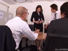 Sexy Asuka is a hot milf in the office getting group action