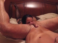 Rimming my ass, sucking my dick and doggystyle fucking that dick with buttplug !!!