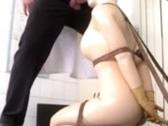 Latex rubber doll blowjob.