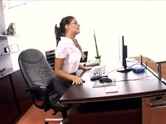 Horny ###ary fucked on her desk in lingerie