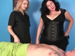 Busty masseuse meanly tugs client on rubdown table