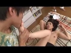 Japan porn video clip finishes with a creampie