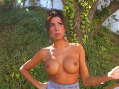 Sexy Milf outdoors shows of her sexy boobs  and tattoos