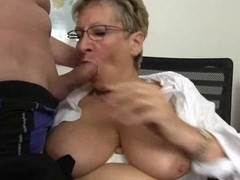 Old blonde is so horny while sucking a big dick