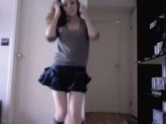 immature bitch stripping her uniform