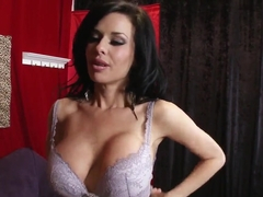 Hot brunette pornstar Veronica Avluv undresses her bra