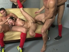 The Soccer Fan:First Gangbang, DP, Double Anal, Double Vag, Triple Pen