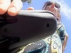 Upskirt masturbation during the time that riding on a bike