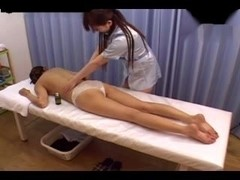 After massage, Japanese girls are having lesbo sex