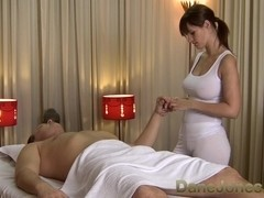 Sexy massage from cute busty brunette woman
