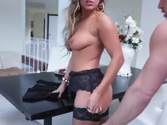 Glamorous blonde mistress in sexy stockings Cameron Dee fucks with her lover's sun Johnny Castle