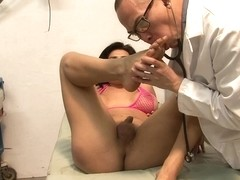 The doctor does rimming to his sensual shemale patient