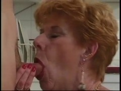 Classic Granny Diane Richards group-fucked in kitchen
