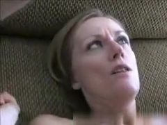 Ugly looking milf has sex with her husband on the couch