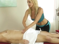 Bigtitted masseuse jerks before pussyfucking