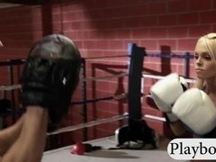 Boxing trainer fucked massive boobs babe in the boxing ring
