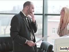 Kyra Hot gives office mate a blowjob to fix the copy machine