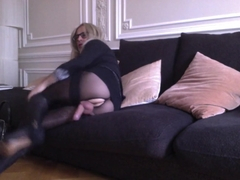 Sissy trav in pantyhose collant playing my clit