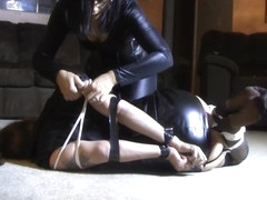 Gagged sexy slut humiliated by her hot mistress