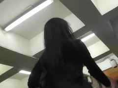Goth sweetheart flashed upskirt booty