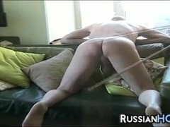 Russian Bitch Caning A Guy