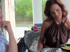 Mature sexy redhead milf seduces young horny stud