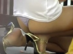 Breathtaking Japanese sweetie gets stunned when someone snatches her skirt