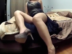 So sexy brunette milf wife is taken masturbating on video by his lusty husband