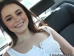 Beautiful teen gets doggy style in the car with stranger