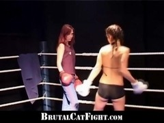 Hot redhead defeated in catfight, winner of hardcore sex