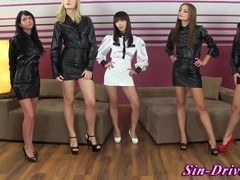 Glam latex babes swap cum