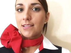 Air hostess pantyhose footjob